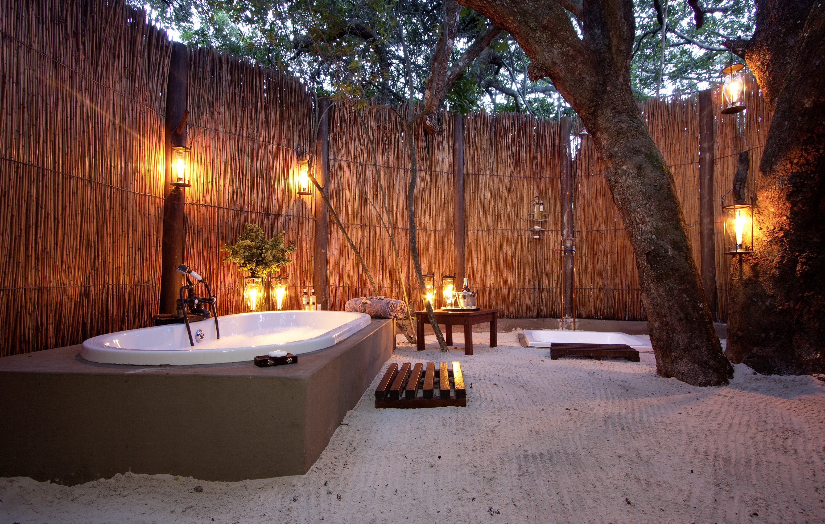 Bathing under open African skies, by candlelight, is one for the Bucket List