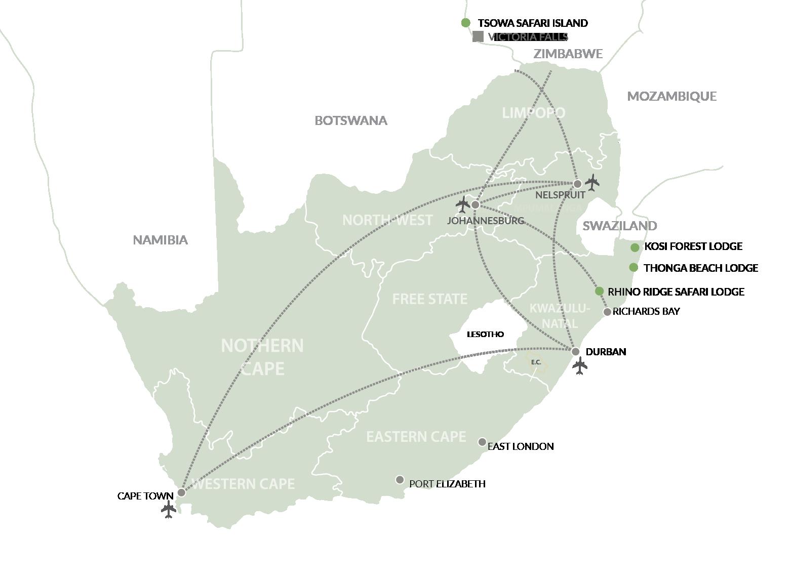 Isibindi African Lodges Map